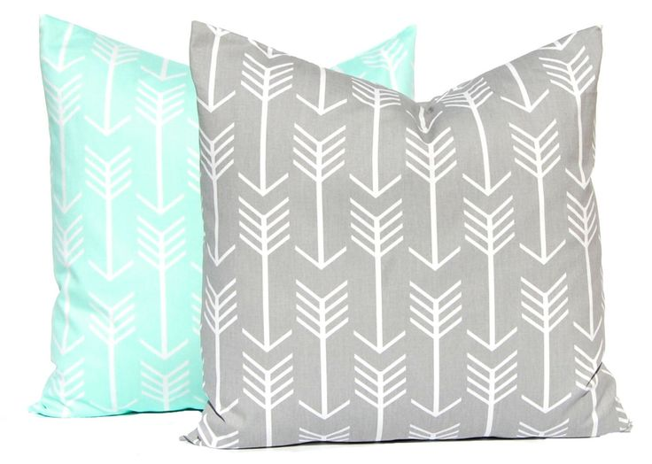 Pillow Covers - Decorative Pillow Covers - Gray Arrows - Mint Green Arrows…