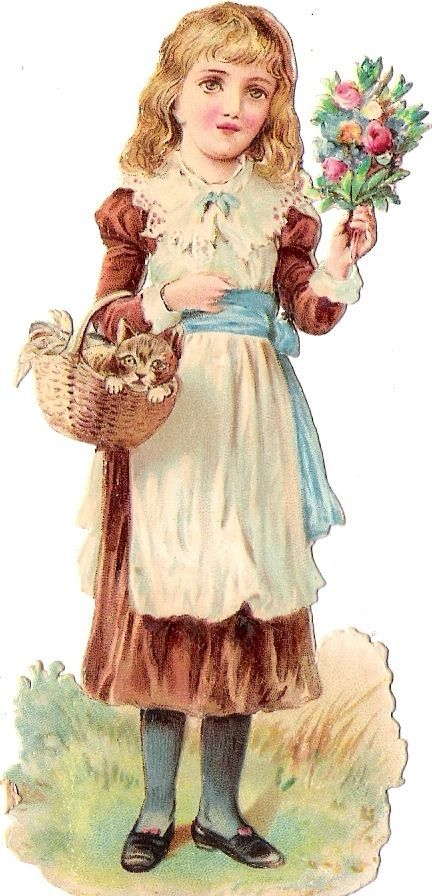 Oblaten Glanzbild scrap die cut chromo Kind child 11,5cm girl Katze cat chat