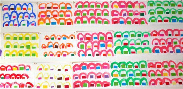 ponts en peinture après collage rectangles en papier sur une ligne