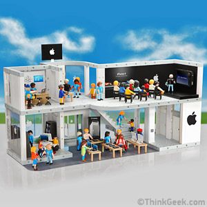 Hilarious - an Apple-Playmobil set complete with Genius Bar and keynote address - and there is an extra 'line-kit' to recreate product launches
