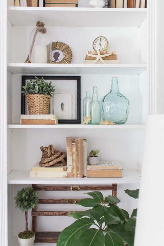Styled Bookcase With Neutral Coastal Decor Summer Home Tour