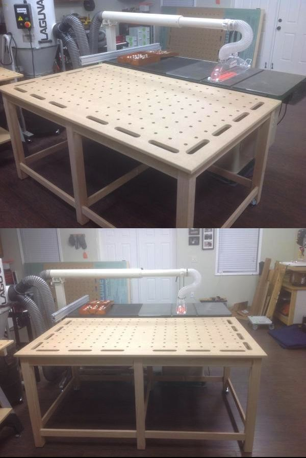My MFT/Outfeed/Clamping Table /  Just picked the top up today from the CNC shop. Decided to use this project to practice with some very basic furniture building and learn how to use the Domino. Still need to level it out and put a finish on it.
