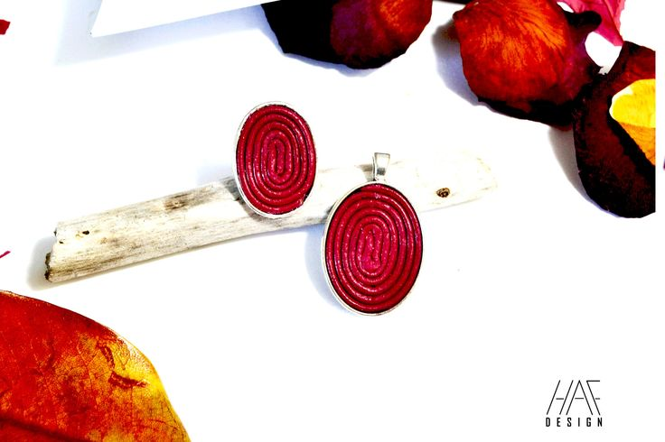 Parure Bague et collier originale en CUIR spirales et cabochon en argent plaqué 925 Rouge bordeaux : Parure par haf-design