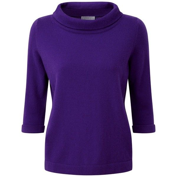 Pure Collection Savannah Cashmere Bardot Jumper, Rich Purple (£74) ❤ liked on Polyvore featuring tops, sweaters, plus size jumpers, 3/4 sleeve tops, plus size sweaters, purple jumper and women's plus size tops