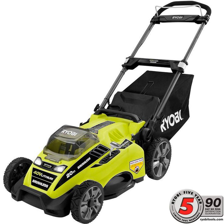 Ryobi 20 in. 40-Volt Brushless Lithium-Ion Cordless Battery Push Mower with 5.0 Ah Battery-RY40180 - The Home Depot