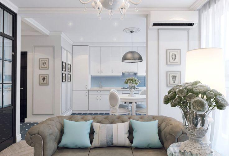 Дизайн двухкомнатной квартиры от студии Волковых выполнен в сине-бирюзовых тонах, создавших в помещении воздушную приятную атмосферу. Благодаря свободной планировке в квартире разместились все необходимые функциональные зоны, превратившие типовое жилье в...
