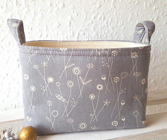 SCANDI SMALL HAMPER Linen Floral Gift Bag Storage Organiser