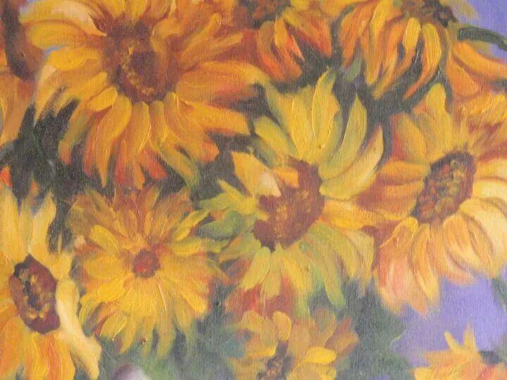 Pintura al óleo,flores,girasoles.