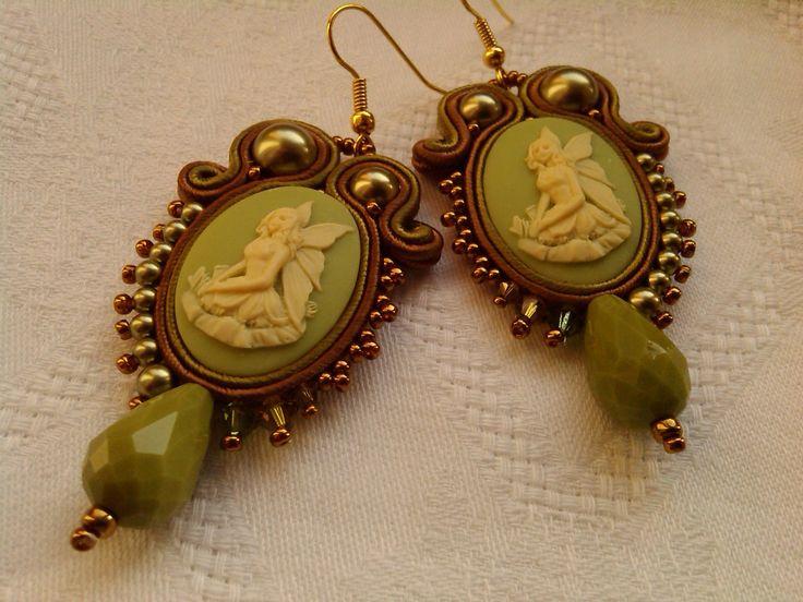 "EARRINGS ""LITTLE FAIRY"", cameo fairy, stylish earrings,Swarovski elements,olive green/milk,light green/bronze,made in Italy,handmade jewelry di MuciddosBeads su Etsy"