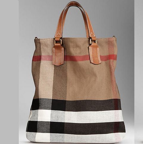 Cute!  And 80% off! Burberry Medium Brit Check Tote Bag Brown 38551481