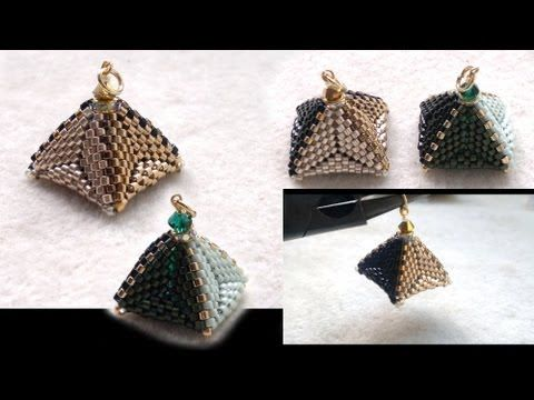 ▶ Beading4perfectionists : 3D Beaded pyramid pendant or earrings. Triangle & RAW beading tutorial - YouTube