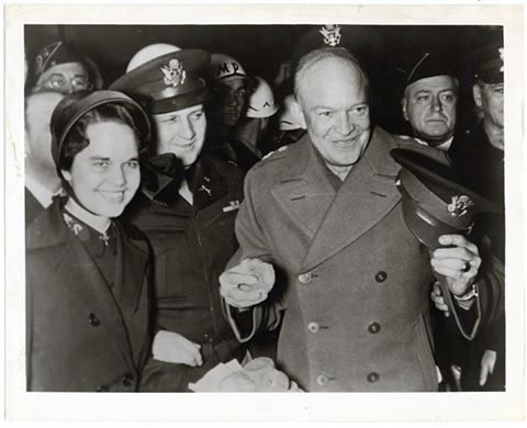 Happy National Doughnut Day! In this photo, General Eisenhower poses with a Salvation Army Donut Girl and donuts. (Sally L. Steinberg Collection of Doughnut Ephemera, Archives Center, National Museum of American History.)
