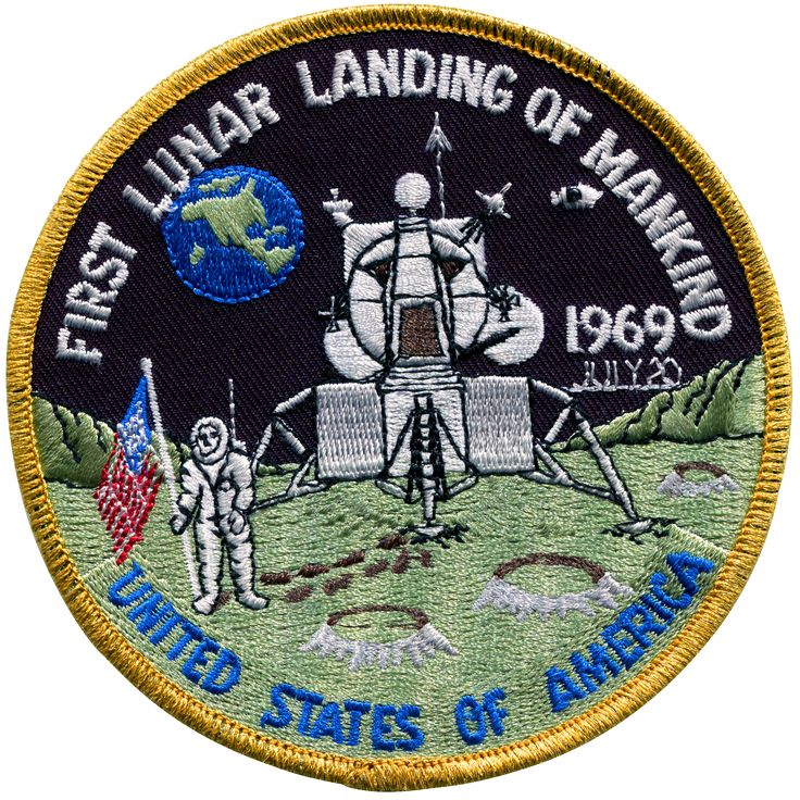 Although this unique insignia is not an official NASA emblem, it has been included in this collection as a matter of interest. It was produced in 1969 shortly after the successful Apollo 11 mission. A
