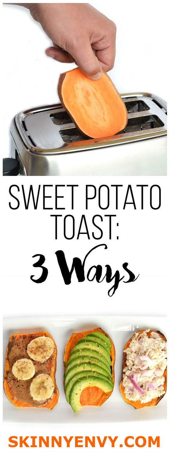 """You must try this cleaver quick, low carb,paleo, gluten free,low fat,high fiber, high nutrient, low calorie toast! Great for weight loss plans! To make: simply cut a sweet potato into 1/4"""" slices. Pop in your toaster and toast twice to thoroughly cook 'till browned is best. Top with any healthy topping you wish, such as almond butter & bananas, avocados, or tuna! VISIT skinnyenvy.com for more great weight loss recipes! #paleo #weightlossfoods #quickrecipes"""