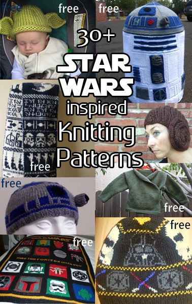 Knitting Patterns inspired by Star Wars with patterns for hats, toys, more with many free knitting patterns. These are the perfect geek knitting patterns and ideas for anyone who loves the original trilogy or The Force Awakens!
