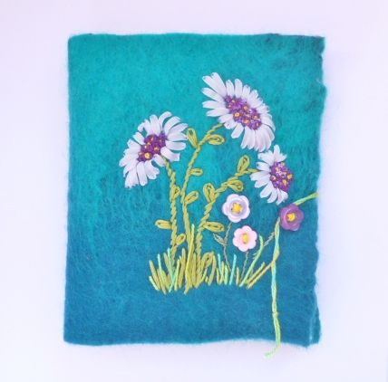 Needlebook made from nuno felt and embroidered with ribbons, threads and buttons. Perfect gift for those who love to sew