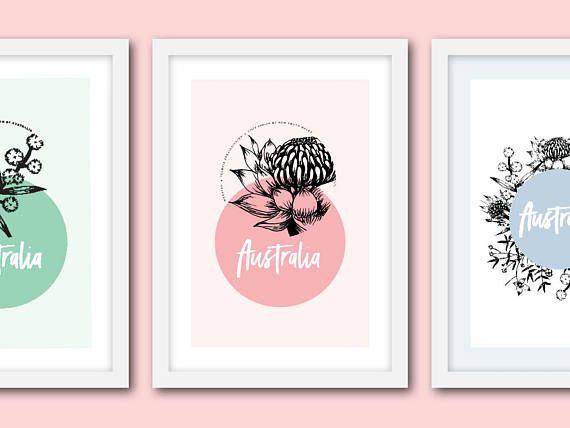 Australia poster set Set of 3 floral posters A3 Native