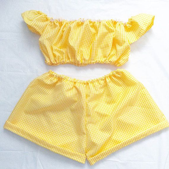 Yellow Gingham Two Piece Co Ord by ShesAMermaidCat on Etsy