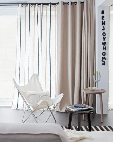 2 layers of curtains with eyelet tops