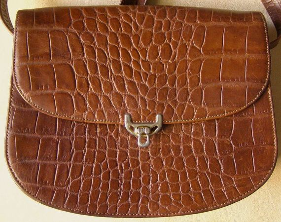 French Leather Bag - Besace en Cuir façon Croco