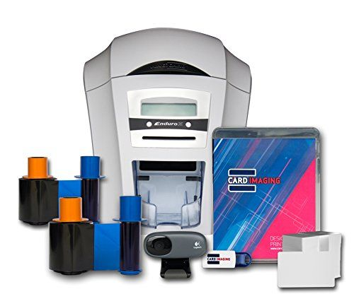 Magicard Enduro 3e Dual Sided ID Card Printer & Supplies Bundle with Card Imaging Software (3633-3021)  Includes: Magicard Enduro 3e Dual-sided printer, 2 Color ribbons, Logitech camera, 200 PVC cards, Cleaning kit, and Card Imaging design software.  Printing has never been easier with the Card Imaging design software; allowing you to customize and print ID or Gift cards with photos, images, text, or barcodes whenever you want  Printer comes with free Tech support: help with setting yo...