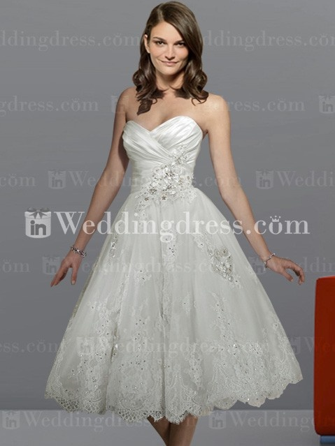 Strapless Informal Tea Length Wedding Dress With Lace BC261