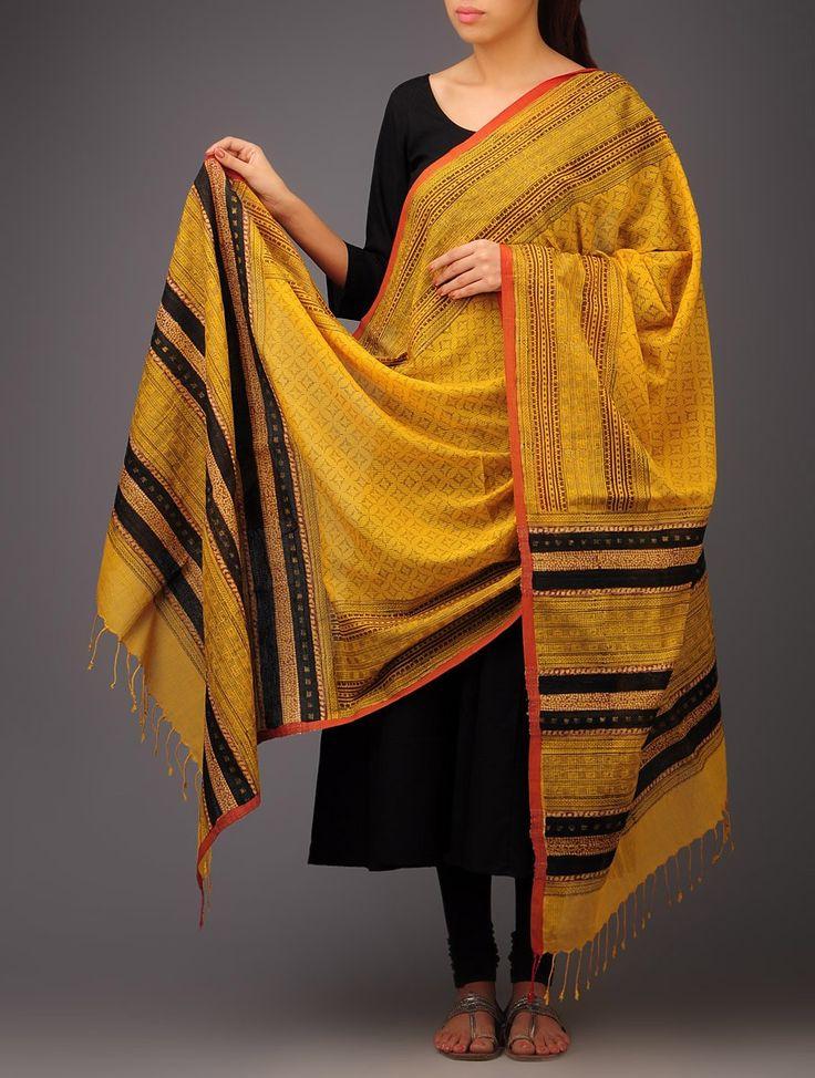 Yellow-Black Abstract Khadi Block Printed Cotton Dupatta by Jaypore - Buy Accessories > Dupattas > Yellow-Black Abstract Khadi Block Printed...