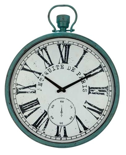 HORLOGE ANTIQUE : Horloge murale antique en métal.