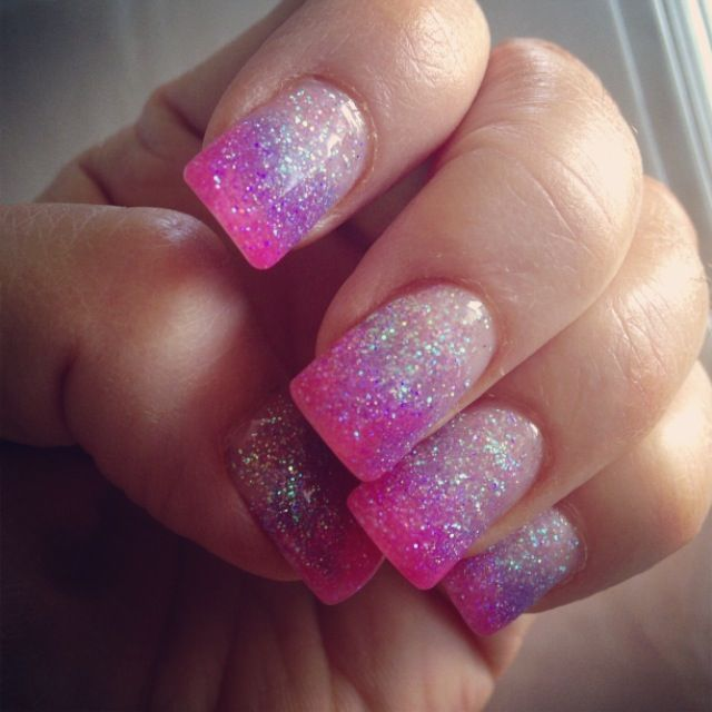 Faded or hombre pink & lavender gel nails
