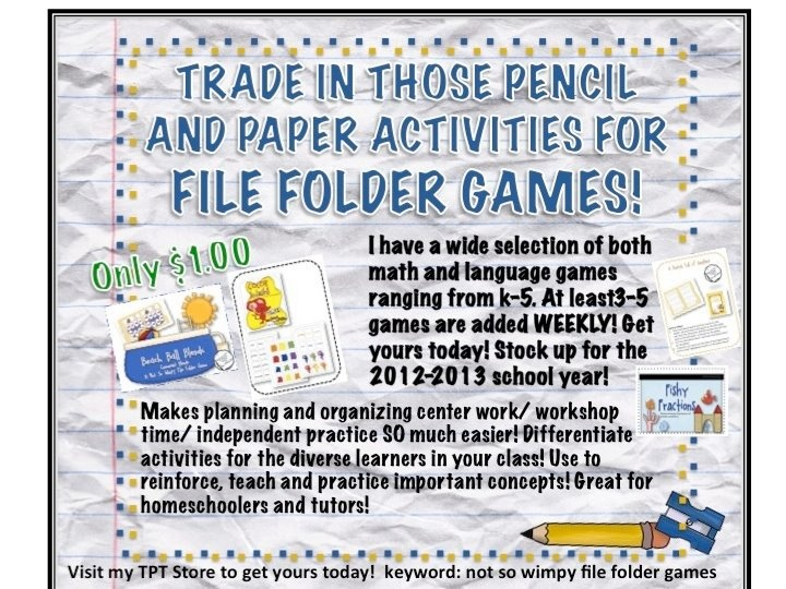 ! I am adding new games weekly! Check them out! Great for back to school! Only a dollar!   http://www.teacherspayteachers.com/Store/The-Diary-Of-A-Not-So-Wimpy-TeFile Folder