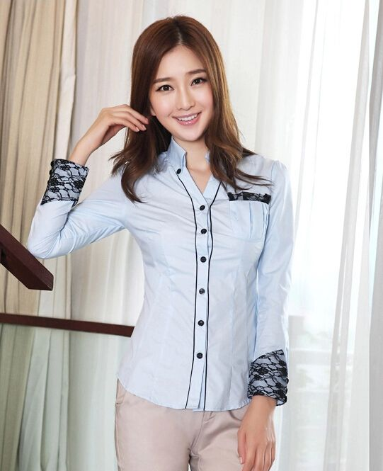 Hot Sell Women Fashion Work Wear Frock Shirt Female Long-Sleeve OL Slim Lace Patchwork Shirts  Blouses Tops Blue Grey White