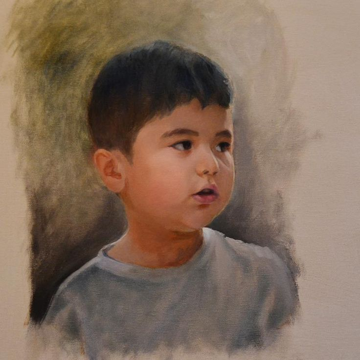 Peter Valve: Portrait of my son, oil painting