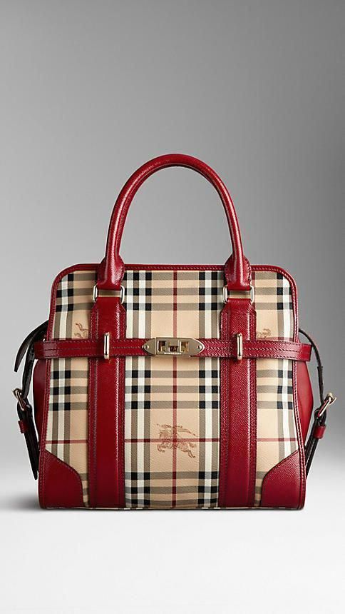 Medium Haymarket Check and Leather Tote Bag  a9e7765e99425