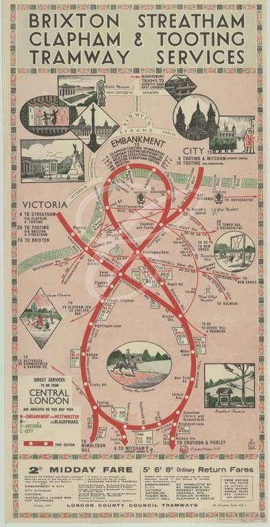 1930's LCC Tramways Poster showing the services and connections from Brixton, Streatham and Tooting towards Central London.