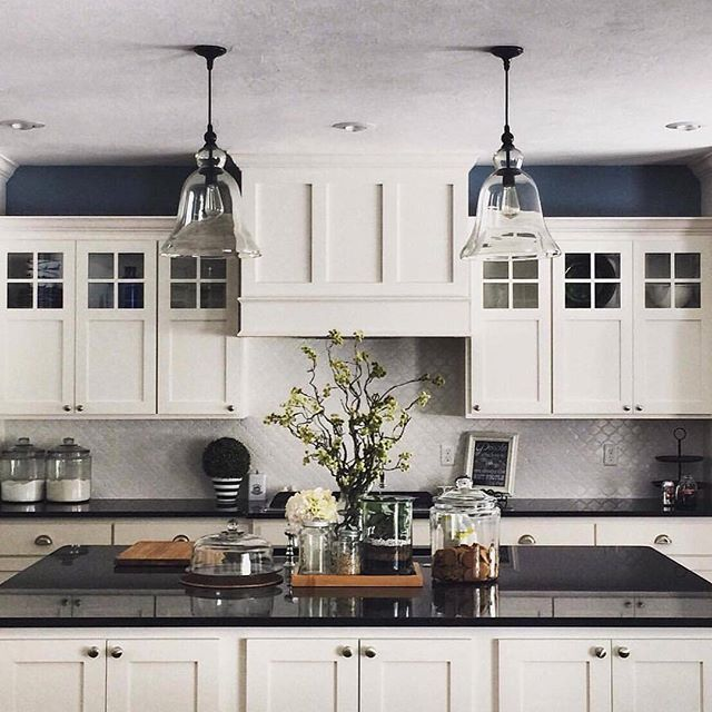 Dream kitchen inspo via @meadowlark_park, featuring our Rustic Glass Pendants. P.S Buy more pendants, save more – in stores & online using code BUYITALL at checkout.