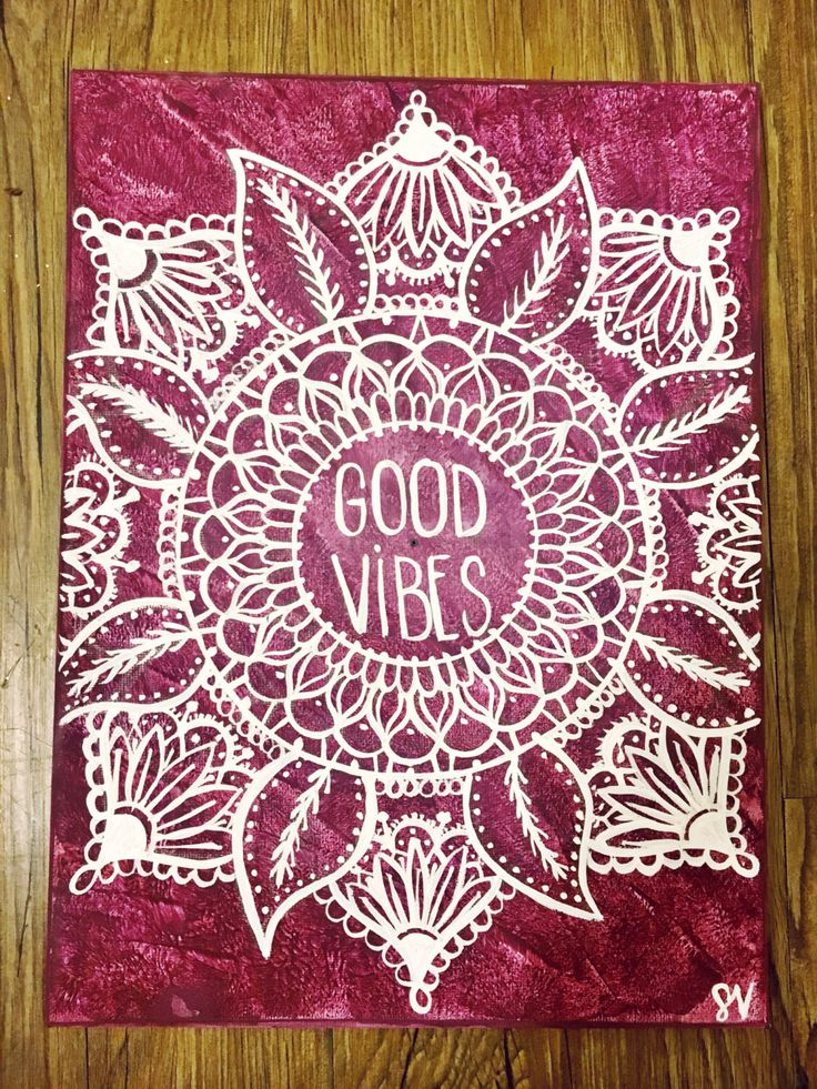 Ideas Quotes: Good Vibes Mandala Hand Lettered Canvas Quote Pain...