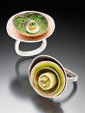 Brooke Battles Urban Garden Rings Sterling, copper, enamel, 18k, peridot, lemon…