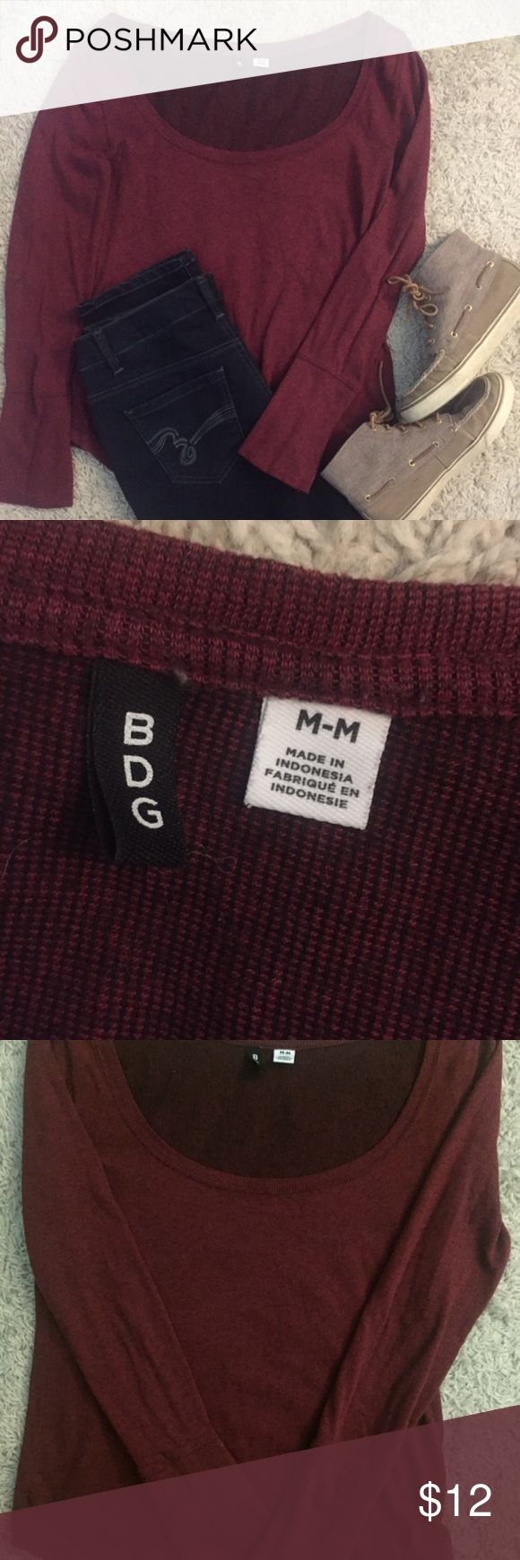 BDG, long sleeve sweater, size M BDG, long sleeve sweater, size M, burgundy, very soft, this light sweater is in used condition as shown in last photos.  It looks so much better in person than close up photos but just wanted to be sure you can see before it is purchased. Super soft and cute! BDG Tops Tees - Long Sleeve