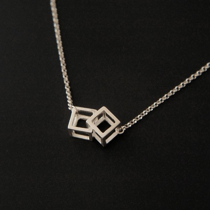 Aimee Sutanto Jewellery – Mini Double Cube Dangly necklace. sterling silver • Available at thebigdesignmarket.com