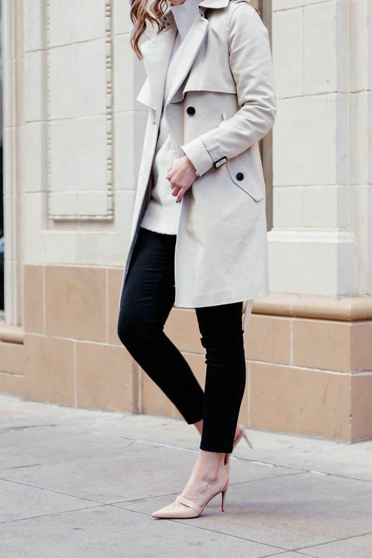 Popular Dallas style blogger Never Without Lipstick wears a cream turtleneck sweater and Club Monaco trench coat for a winter neutrals outfit | winter outfit, trench coat outfit, neutrals outfit, chic office style, louboutin pump, louboutin actina pump, turtleneck outfit