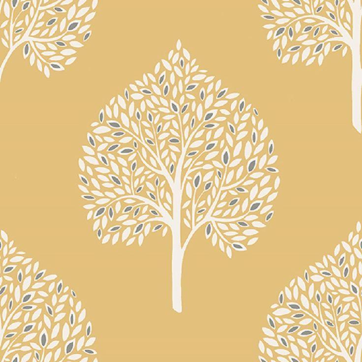 fine decor a street print tree grove wallpaper, tree effect paste the wall wallpaper, mustard tree effect wallpaper