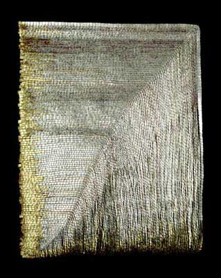 Woven metal tapestry by Olga de Amaral