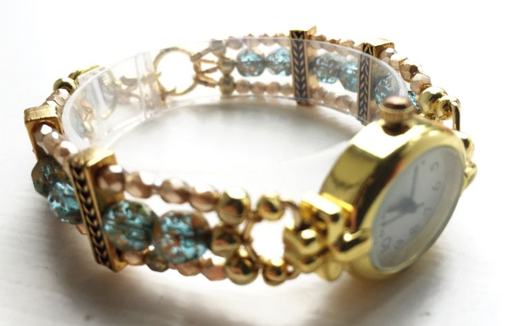 "Bracelet watch, light blue and gold, ca. 6 3/4"" - 7 1/4"" (17 - 18.5 cm), MEDIUM, slightly adjustable by ShereesTrinketBox on Etsy"