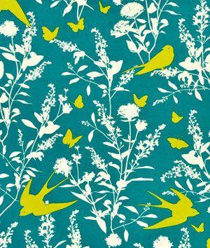 Joel Dewberry Swallow Study Teal Fabric - $8.9 | onlinefabricstore.net