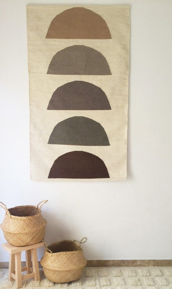 Handwoven Flat Weave Wool Rug Wall Hanging Natural White Grey Flat Weave Wool Rug Rug Wall Hanging Rugs