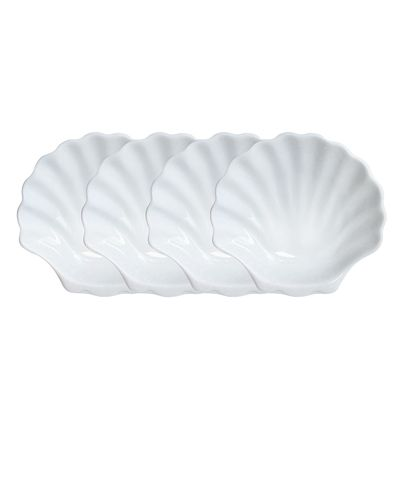 Shell Plates - Set of 4 - They call to mind the most unforgettable delicacies of the sea, savored in an old-world Parisian bistro; they will also call to the table your dearest guests. With stunning simplicity, the Set of 4 Shell Plates allow for artistry in your tablescape and creativity in your food presentation. The vivid white color and smooth glaze befit a transitional dining ambiance.