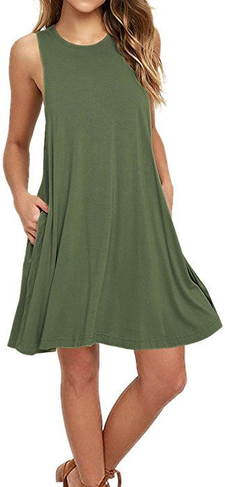 8441d2b128ece AUSELILY Women s Sleeveless Pockets Casual Swing T-Shirt Dresses (L ...