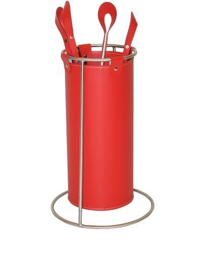 Kamingaritur GIOVE v. Ferrari aus Leder mit Gestell aus Edelstahl I Ferrari leather bucket tool rack with stainless steel frame
