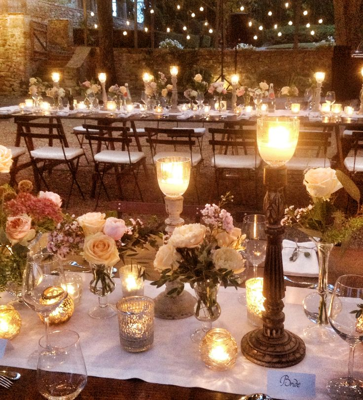 Tuscan Style Long Guest Table W/ Metal Candle Sticks, Flowers, U0026 Candles.  Add Some Grapes U0026 Design Complete.