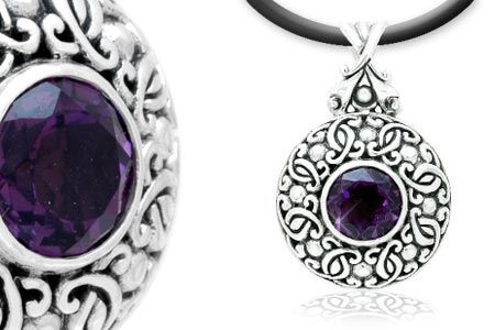 Silver Pendant, Balinese motif with Amethyst round cutting
